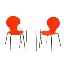 Gift Mark Modern Childrens Table and 2 Chair Set with Chrome Legs (Orange Color Chairs)