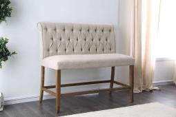 Fabric Upholstered Wooden Counter Height Bench, Beige and Brown