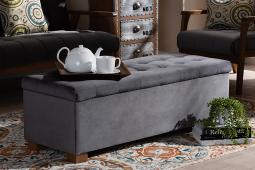 Baxton Studio Roanoke Modern and Contemporary Grey Velvet Fabric Upholstered Grid-Tufted Storage Ottoman Bench
