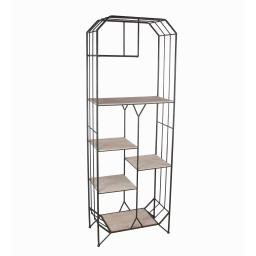 Wood and Metal Bakers Rack with 6 Spacious Shelves, Brown and Black
