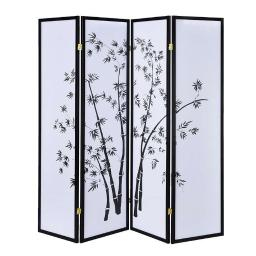 Bamboo Print 4 Panel Wooden Room Divider, Black and White