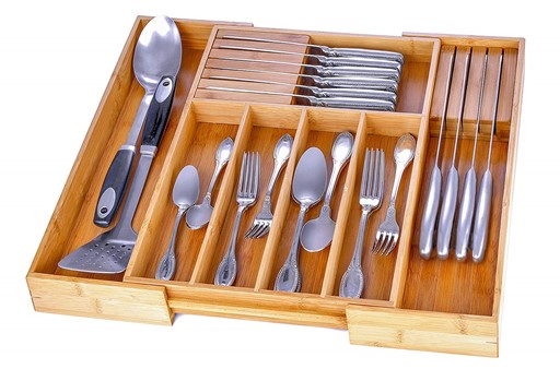 Utensil Drawer Organizer Bamboo Silverware Organizer Expandable Kitchen Drawer Organizer Cutlery Tray with 2 Removable Knife Blocks