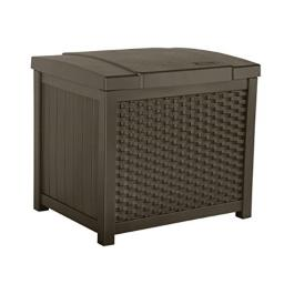 Suncast Small Deck Box Lightweight Resin Indoor/Outdoor Storage Container for Seat Cushions and Gardening Tools Store Items on Patio, Garage, 22 Gallon, Mocha Wicker