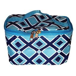 High Fashion Print Small Cosmetic Bag Can be Personalized (Blue Diamond - Personalized)
