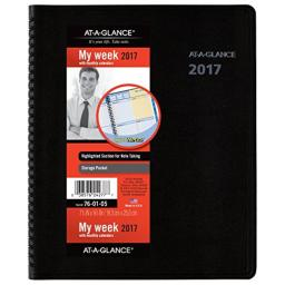 "AT-A-GLANCE Weekly / Monthly Appointment Book / Planner 2017, QuickNotes, 7-5/8 x 9-7/8"", Black (76-01-05)"