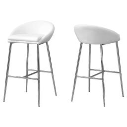 Offex OFX-504179-MO 2 Piece Kitchen Barstool, White/Chrome Base - Bar Height
