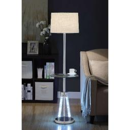Contemporary Metal and Acrylic Floor Lamp with Glass Table, Silver and Brown