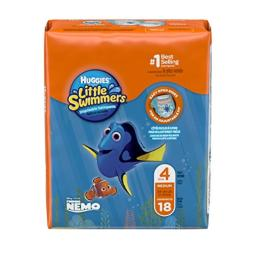 Huggies Little Swimmers Disposable Swim Diapers, Swimpants, Size 4 Medium (24-34 lb.), 18 Ct. (Packaging May Vary)