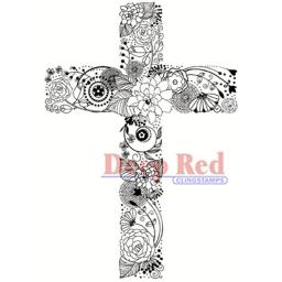 Deep Red Stamps Floral Cross Rubber Stamp