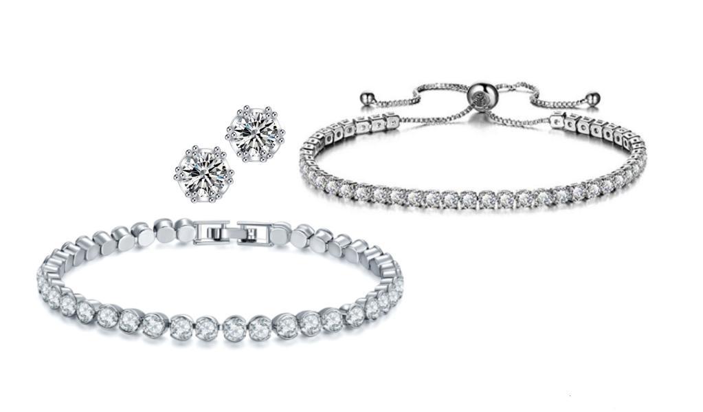 3 Pack Sterling Silver Round Cut Adjustable Bracelet, Tennis Bracelet And Studs Set