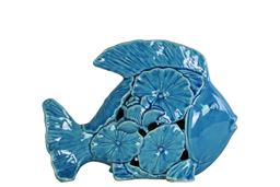 Urban Trends  Ceramic Fish Figurine with Floral Cutout Design Small Gloss Finish Turquoise