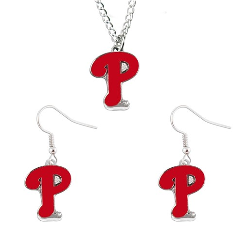 MLB Philadelphia Phillies Sports Team Logo Necklace and Dangle Earring Charm Set