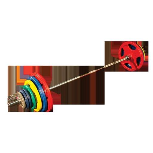 455 lbs Colored Rubber Olympic Weight Plate with Hand Grip