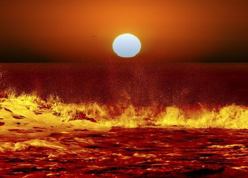 A composite image showing the Sun and ocean waves in Miramar, Argentina Poster Print