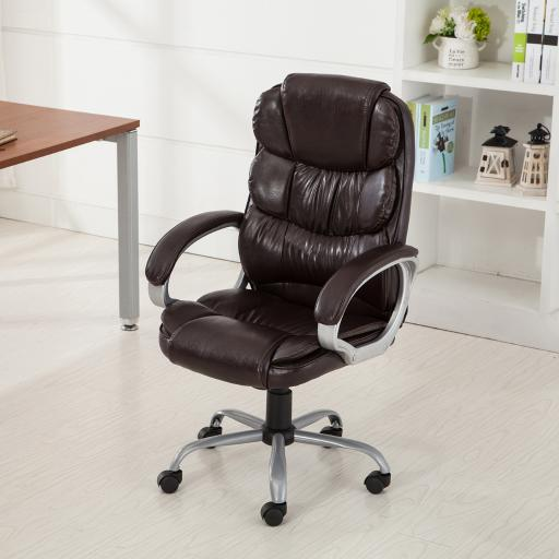 Belleze Executive Office Chair Ergonomic Padded Armrest Computer Desk Chair - Mocha