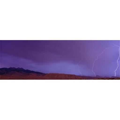Panoramic Images PPI29301L Clouds lightning over the mountains Mt Four Peaks Phoenix Arizona USA Poster Print by Panoramic Images - 36 x 12