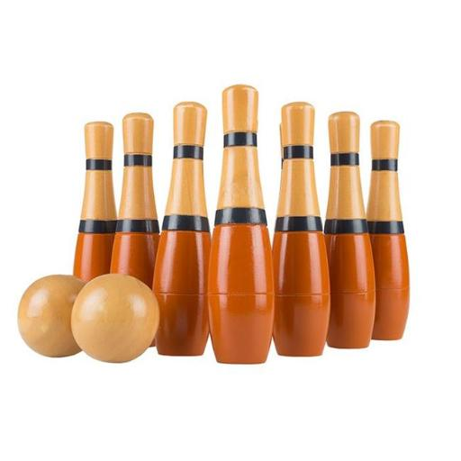 Hey Play M350018 8 in. Lawn Bowling Tall Wooden Lawn Game Indoor & Outdoor Toy Adults & Kids - Orange & Gray
