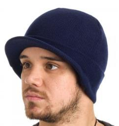 Dickies Core 874 Navy Billed Knit Beanie Hat with Visor Cap Accessory