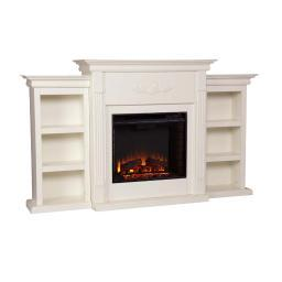 Holly and Martin Fredricksburg Electric Fireplace w/ Bookcases in Ivory sei-fe8544