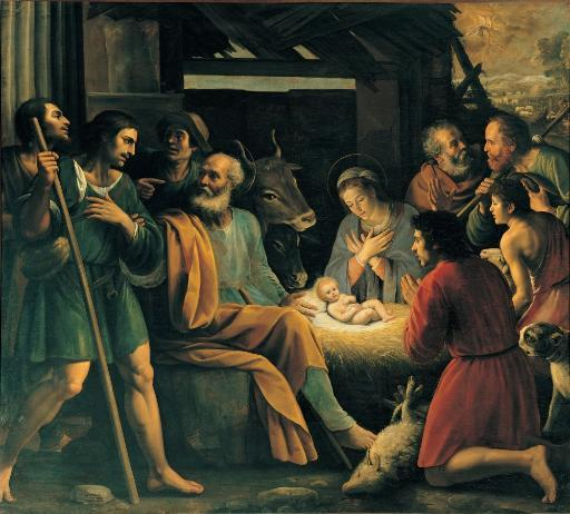Probably Vermiglio Giuseppe The Nativity And The Adoration Of The Shepherds 16Th Century Oil On Canvas Italy Lombardy Milan Brera Art Gallery.