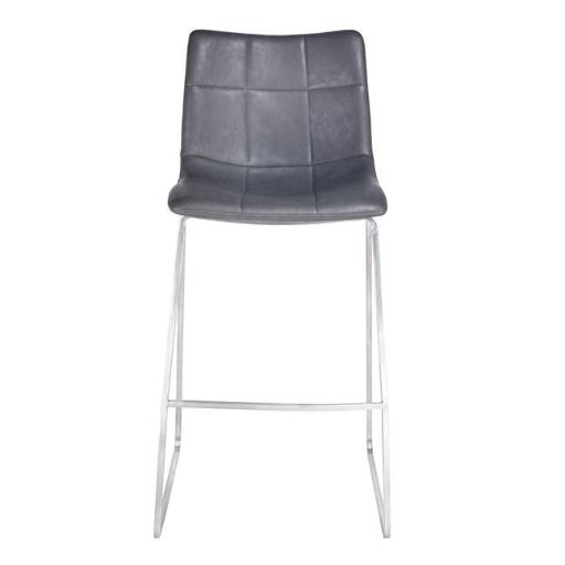 Armen Living LCHMBAVGBS30 33 x 18 x 18 in. 30 in. Hamilton Bar Height Barstool, Brushed Stainless Steel with Vintage Grey Faux Leather