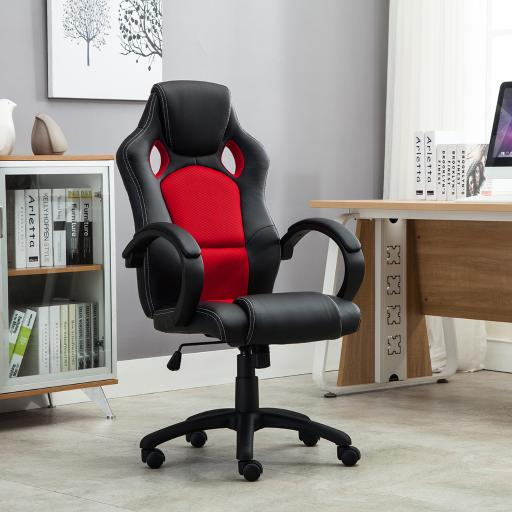 Belleze Executive Office Chair Racing Style PU Leather Swivel Computer Gaming High-Back, Black/Red