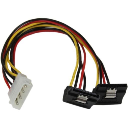 Startech.Com 12In Lp4 To 2X Right Angle Latching Sata Power Y Cable Adapter Pyo2Lp4Lsatr