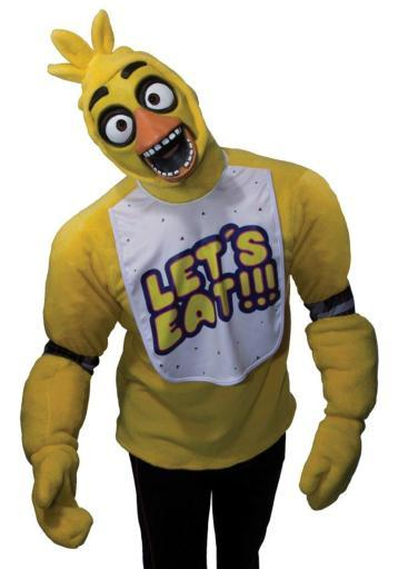Chica Adult Costume Five Nights At Freddys top Mitts and Mask Teen Horror