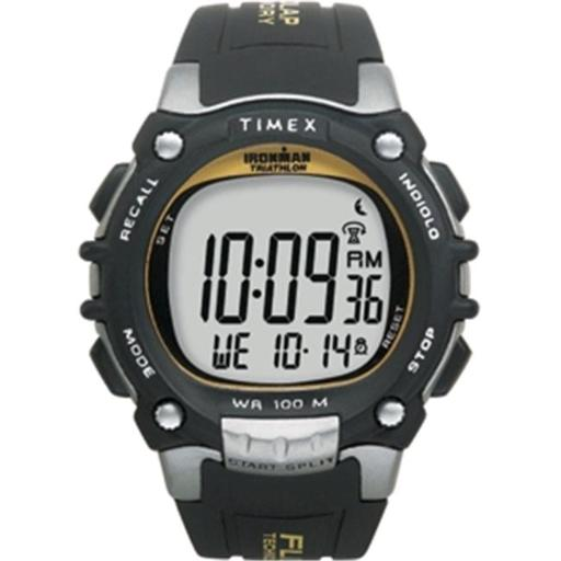 Timex T5E231 Timex Ironman Traditional 100-Lap with Flix System - Black-Silver-Yellow Watch