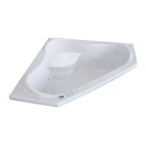 Valley Acrylic Bath VITAWS6060WHT 60 x 60 in. Acrylic Corner Drop in Bath Tub with Large Contoured Interior & Integral Molded Seat, White