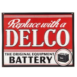 AC Delco 90147000-S Replace with A Delco Embossed Tin Sign