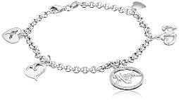 """Sterling Silver Diamond Accent """"Mom"""" with Heart Charm Bracelet (1/10cttw, I-J Color, I2-I3 Clarity), 7.5"""""""