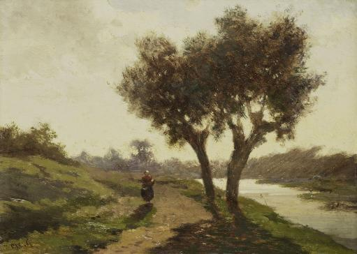 Landscape With Two Trees, By Paul Joseph Constantin Gabriel, 1860-67 Dutch Painting, Oil On Panel. Woman Walks On A Path Along A Canal. Poster Print