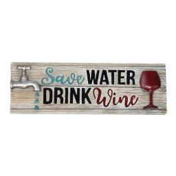 Spoontiques 12010782 Water & Wine Decorative Sign