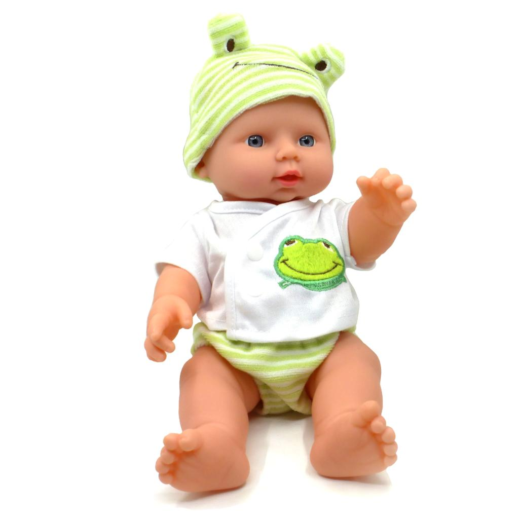 Newborn Lifelike Baby Doll with Green/White Frog Outfit and matching Stripe Hat – Perfect Gift for Little Girls