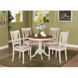 East West Furniture ANPL5-WHI-C 5 -Piece Round Kitchen 36 in. Table and 4 Chairs with Padded seat