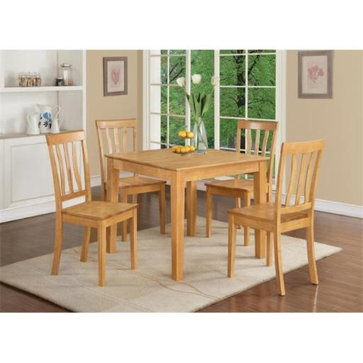East West Furniture OXAN3-OAK-W 3 Piece Small Kitchen Table and Chairs Set-Square Kitchen Table and 2 Dining Chairs
