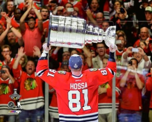 Marian Hossa with the Stanley Cup Championship Trophy Game 6 of the 2015 NHL Stanley Cup Finals Photo Print BB6AZHSWSNRPB9FZ