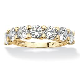 Round Cubic Zirconia Single Row Wedding Engagement Ring 3.50 TCW in 14k Gold over Sterling Silver