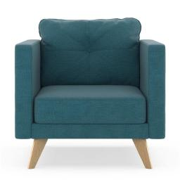 NyeKoncept 50200293 Levi Armchair Oxford Weave - Aegean Blue with Natural Finish