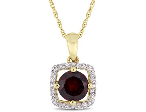 Natural 1.00 Carat (ctw) Garnet Pendant Necklace in 10K Yellow Gold with Chain with Diamonds 1/10 Carat (ctw)
