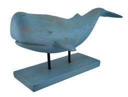 Distressed Finish Blue Sperm Whale Statue On Wooden Mount
