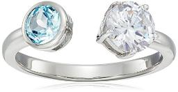 Sterling Silver Blue Topaz and CZ Open Band Ring, Size 7