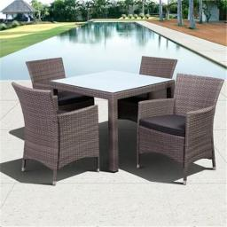 International Home Miami PLI LIBERSQ5-KD GR - GR 5 Piece Grand New Liberty Deluxe Square Patio Dining Set Grey with Grey Cushions