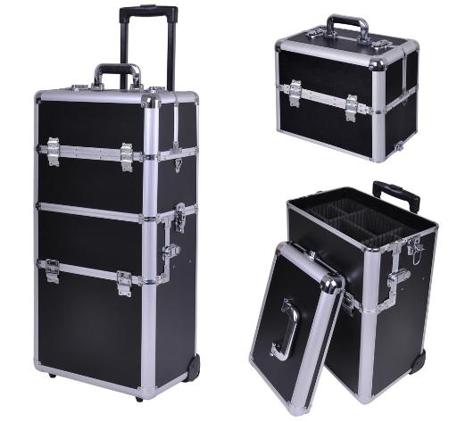 "38"" 2in1 Rolling Makeup Artist Cosmetic Train Case Hair Style Lock Box Black IIMHGUM44SWTYGYM"
