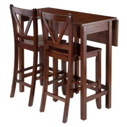 Winsome 94355 35.43 x 39.37 x 30 in. Lynnwood Drop Leaf Table with 2 Counter V-Back Stools, Walnut - 3 Piece