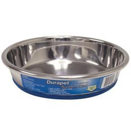 Our Pets 1040004301 Silver Our Pets Durapet Premium Rubber-Bonded Stainless Steel Dish 1 Cup Silver 5.33 X 5.33 X 1.