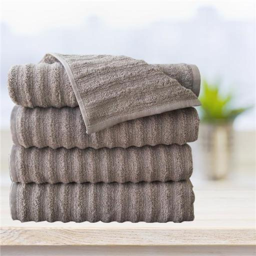 Affinitylinens WAVY4BATH-TPE Spa 4 Piece 100 Percent Zero twist Cotton Bath Towels - Taupe