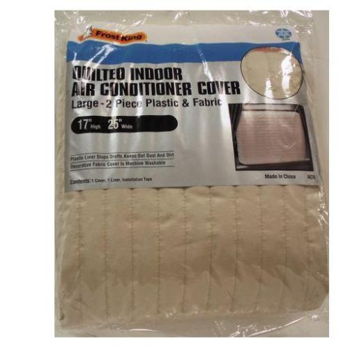 Frost King Ac9h Quilted Indoor Air Conditioner Cover, 17  X 25  .Highlights:.Width: 25 .Height: 17 .Indoor - Quilted.Material: Plastic.Color: Beige.Plastic liner stops drafts, Keeps out dust and dirt.Fabric cover is machine washable.Includes One Cover, One Liner, And Installation Tape.