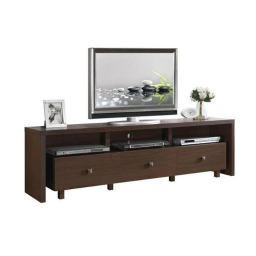 Techni Mobili RTA-8895-HRY Elegant TV Stand with Storage, Hickory - Up to 75 in.